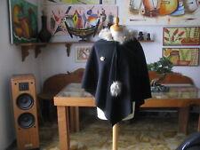 Donna  MANTELLA  Pipistrello C/Cappuccio e Pelo Tg. S/M  Fruscìo  Made in Italy