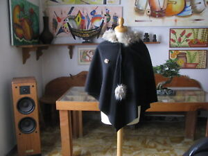 Woman Poncho Bat C / Hood And Hair Size S/M Fruscìo Made IN Italy