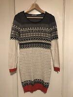 Tu Fairisle Ski Christmas Knitted Knit Jumper Dress Size 8