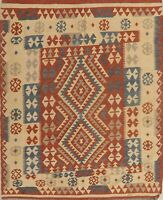 South-Western Geometric Reversible Kilim Oriental Area Rug Wool Hand-Woven 5x6