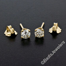 NEW Classic 14k Yellow Gold .46ctw G VS Round Brilliant Diamond Stud Earrings