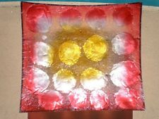CAPIZ SHELL FRUIT BOWL ENTERTAINING DECORATIVE PLATE SUSHI DISH RED BALI