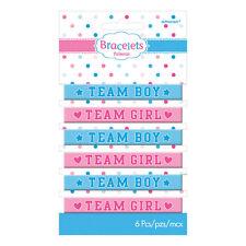 TEAM GIRL BOY 6 PACK RUBBER BRACELETS BABY SHOWER BIRTH PARTY DECORATION