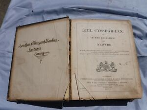 ANTIQUE  1861  WELSH   BIBLE  (BIBL)    FREE  DELIVERY
