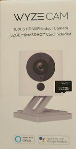 Wyze Cam White 1080p HD Indoor Wireless Smart Home Camera, 32GB MicroSD Card NEW