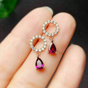 2Ct Pear Cut Red Ruby & Diamond Dangle Drop Women's Earrings 14K Rose Gold Over