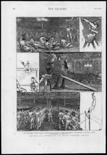 1875 antica stampa-Germania Società Ginnastica Vault Cavallo parallele (G144)
