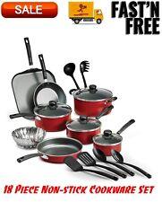Primaware 18 Piece Non-stick Cookware Set, Red, Kitchen Home, Pots & Pans Set