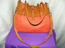 FAUX LEATHER HANDBAG WITH ACCESSORY BAG ORANGE AND BROWN- SIMPLY GORGEOUS!!