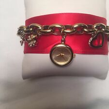 PRETTY ANNE KLEIN LADIES WATCH SWAROVSKI CRYSTAL CHARMS BRACELET SO CUTE