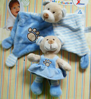 Schmusetuch Bär blau & Greifling Rassel flauschig weich Plüsch Baby