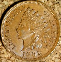 1903 Indian Head Cent - AU++ POLIQUIN VAR-32 PLATE, REPUNCHED DATE (K073)