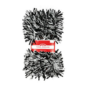 Holiday Time Black and White Tinsel Garland Christmas Decoration 12 Foot
