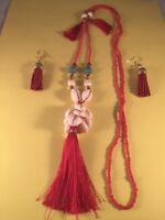 Long Red Or Black Necklace/Earring/ Set Tassle Bead Shell  - Gold Pl AUS SELLER