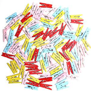 Multicolour Mini Wooden Dolly Pegs x100 / Clips - Memo / Note / Photo / Cute