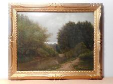 Tableau ancien peinture bord rivière paysage chemin campagne sous bois
