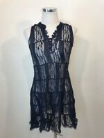 Free People Blue Lace Sheer Long Sleeveless Tunic Tank Top Size XS FREE SHIP
