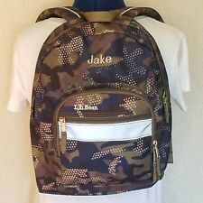 440aa07509 LL Bean Book Back Pack Camo Print Fabric Personalized Jake Green Blue Brown  Gray