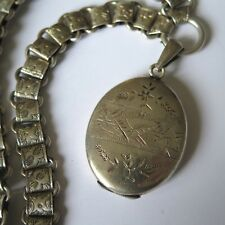 Antique Victorian Sterling Silver Bookchain Book Chain Photo Locket Necklace