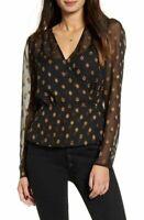 Chelsea28 Women's Black & Gold V-Neck Geometric Print Wrap Blouse