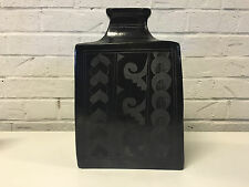 Mexican Blackware Pottery Vase w/ Pattern Decoration Unknown Age