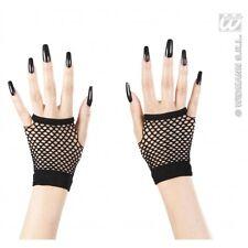 Ladies Black Fingerless Fishnet Gloves for Adult Role Play Fancy Dress 1siz