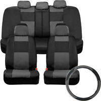 Vegan Leather Full Set Car Seat Covers with Steering Wheel Cover, Gray