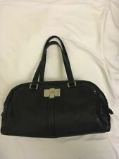 BOSS by Hugo Boss Black Leather Handle Shoulder Tote bowling Bag Medium