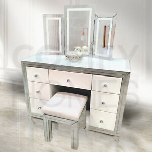 White Mirrored Blanka Dressing Table Set - STOOL DOES NOT INCLUDED