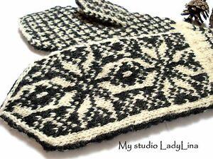 Woolen Eco Gloves Scandinavian Style HANDKNIT 100% wool Black White from EUROPE