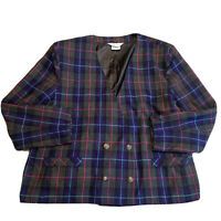 Vtg Womens Double Breasted Wool Plaid Check Colorful Blazer Jacket Nygard Sz 24W
