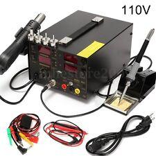 800W 909D+ 4 IN 1 SMD Rework Soldering Iron Station Welder Hot Air Heat Gun 110V