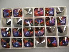 4 discontinued swarovski square rivoli stones,18mm volcano