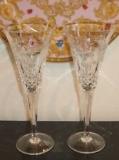 WATERFORD CRYSTAL MILLENNIUM PEACE CHAMPAGNE FLUTES WITH SHIP LOGO AND DATED
