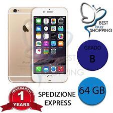 IPHONE 6 RIGENERATO GRADO B 64GB 64 GB ORO ORIGINALE APPLE + GARANZIA 1 ANNO
