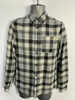 MENS RIVER ISLAND SMALL BLACK/IVORY CHECK BRUSHED BUTTON UP LONG SLEEVE SHIRT