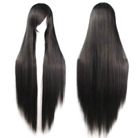AM_ AM_ LD_ Women Heat Resistant Black Long Straight Wig Hairpiece Cosplay Hair