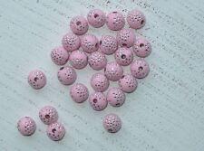100 rosa Acryl Perlenca 10 mm strasseffekt silberne Punkte Engel basteln A1132