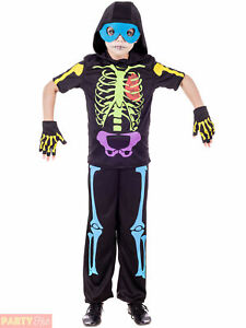 Boys Cool Skeleton Costume Childs Halloween Fancy Dress Kids Horror Outfit