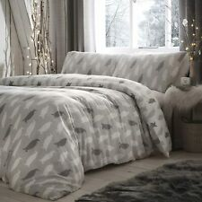 Reversible Grey & White Winter Penguin Silhouette Brushed Cotton Duvet Cover Set