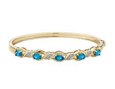 Голубой топаз браслет с бриллиантами в стерлингового серебра с 14K желтое золото покрытие