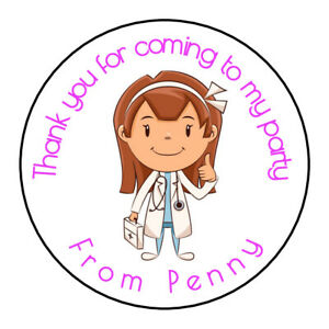 Personalised Cute Doctor Girl Birthday Thank You Party Stickers Sweet Cones
