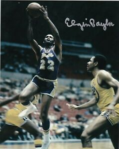 ELGIN BAYLOR  LOS ANGELES LAKERS   ACTION SIGNED 8x10