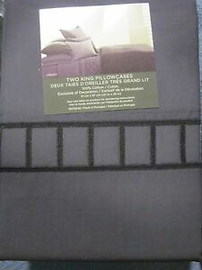 Vera Wang Violet Collection Embroidered Ladder Hem King Pillowcase Pair  NWOT