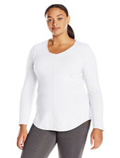 New Just My Size 3X Cotton Blend Center Seam L/S V Neck Tee Top  White