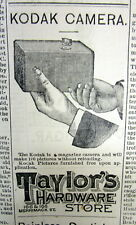 1889  newspaper wth large illustrated front page ad for the 1st KODAK BOX CAMERA