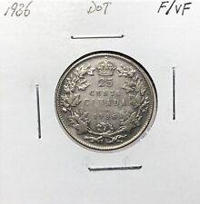 Canada 1936 Dot Quarter Silver 25 Cents F/VF