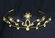 """Crystal Clear Rhinestones & Gold Plated Antique w/Combs. Gold Tiara. 1 3/4"""" Tall"""