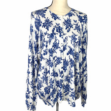 M&S Collection Womens Cardigan Sweater Delft Floral UK 20  US 18