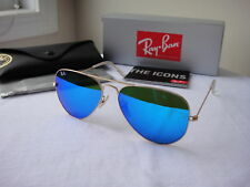 Authentic Ray-Ban Sunglasses Aviator RB3025 112/17 Gold Frame Blue Lens 58mm